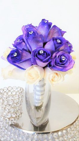 1 bridal bouquet luscious purple diamonte