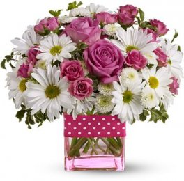 A Polka Dots and Posies FLOWER ARRANGEMENT
