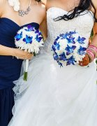 a bridal bouquet blue orchids white fugis