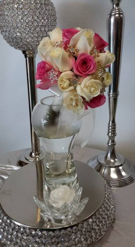 a bridal bouquet pink roses white roses