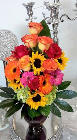 1 colourful warm bouquet, warm love