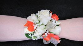 a Corsage White Spray Rose Corsage