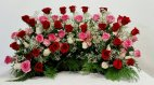 1 flowers funeral urn picture, red roses, pink roses