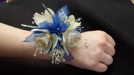 a corsage orchids bling royal blue