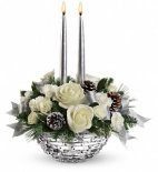 2 Christmas centrepiece white silver