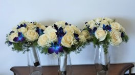 1 bridal bouquet blue orchids, white roses