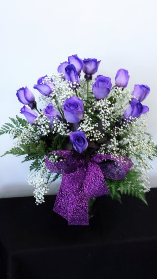1 1 a Purple roses vase arr - Click Image to Close
