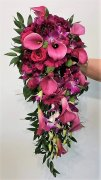 0 a bridal bouquet cascading pinks wines