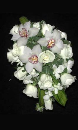White Roses & Cymbidium Orchid Bridal Bouquet