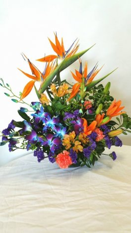 1 1 A Bird of Paradise x3 Blue Orchids Lilies