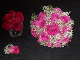 1 bridal bouquet, bride's flowers fusia