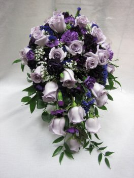 Pretty In Purple Cascading Roses Bride Bouquet