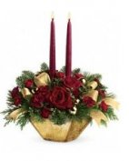 01 2 Candle CHRISTMAS Centerpiece Crimson & Gold