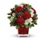 1 Christmas centrepiece Make Merry carnations cube red white