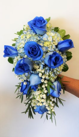 1 A Bridal bouquet, blue roses, blue hydrangea, lil of the valle