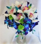 1 A Bridal bouquet, blue orchids, cymbidium orchids nosegay, blu