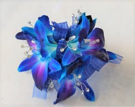 1 corsage wrist blue orchids bling