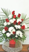 Red Roses Palm leaves with white flowers