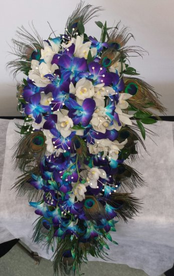 A bridal bouquet cascading dream white blue orchids a bridal click to enlarge mightylinksfo