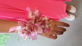 a A+ a corsage bling braclet orchids bling rhinestones, pink