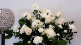 6 roses with White flowers vase arranged