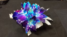 A corsage Blue Orchid Corsage With Bling Bracelet and Bling