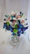 Blue Orchid, White Orchids & Button Mums Bride Bouquet