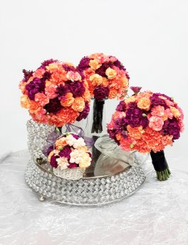 1 1 bridal bouquet corals and purples