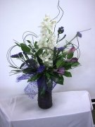 1 Cymbidium Orchid vase accents purple flowers
