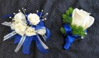 1 corsage wrist roses tiny white blue accents