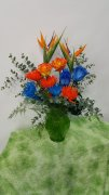 0 a birds conversation, blue roses, orange roses, fugiis, vase