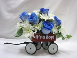 A baby wagon blue roses