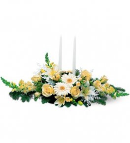 Two White Taper Centerpiece