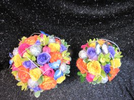 a bridal bouquet Rainbow of roses butterflies
