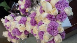 White Roses with Mauve Carnations - Bridal Set