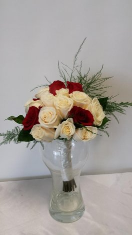 Brides BouquetRed And White Roses, Hand Tied,