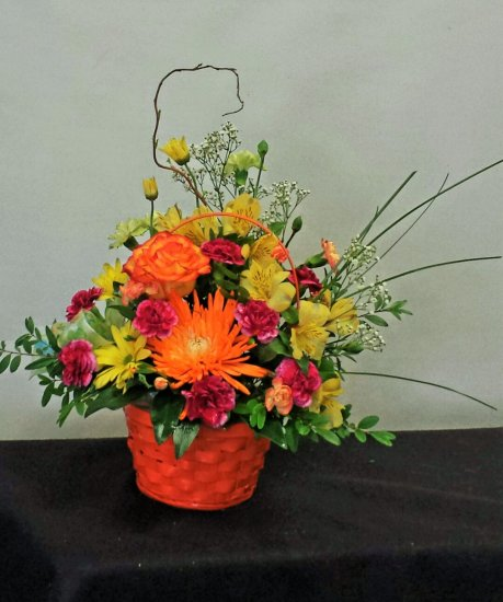 1 basket of cheery flowers - Click Image to Close
