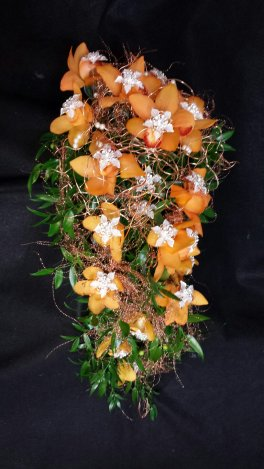 A beauty Tangerine Orchids Cascading with Copper & Glitz