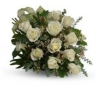 1 a 12 white roses handtied with fresh flower accents