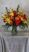 1 1 a glorious fall tones vase arrangement