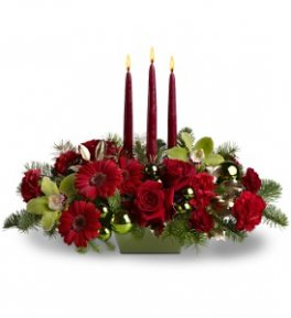 3 Candle Christmas Centrepiece With Orchids