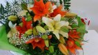 1 bouquet lilies orange white no vase