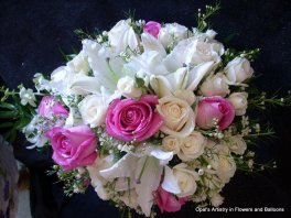 1 bridal bouquet cascade white pink
