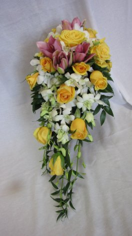 Yellow Roses, White Orchids, bridal cascading bouquet