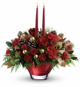 A Holiday Flair Red & Gold Centrepiece