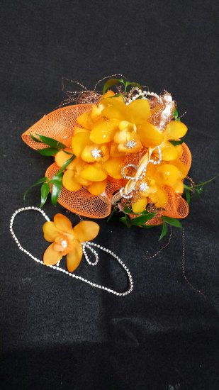 Tangerine Orchids Flower Girl Basket & Hair Piece - Click Image to Close