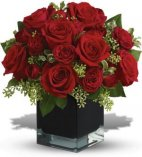 12 Red Roses cube flower arrangement with accents