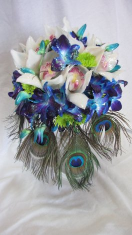 A Blue and White Orchids with Peacock feathers