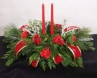 2 candle Christmas Centrepiece red roses red carnations