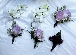 boutonniers corsages purple mauve white